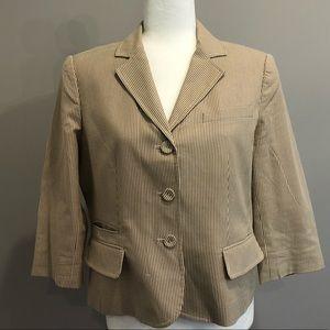 Ann Taylor LOFT tan and cream blazer, size 10